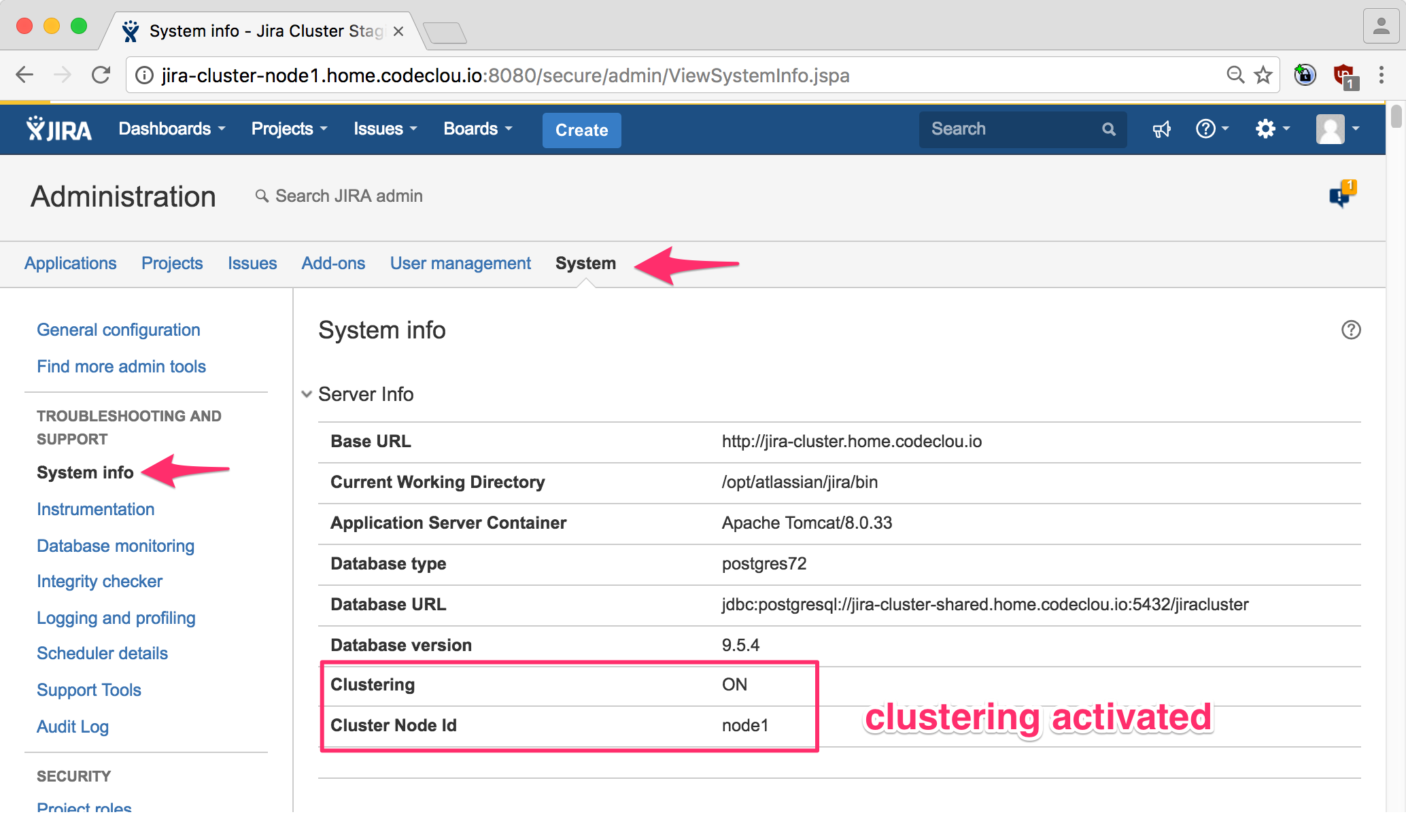 Clustering is show active in System Info