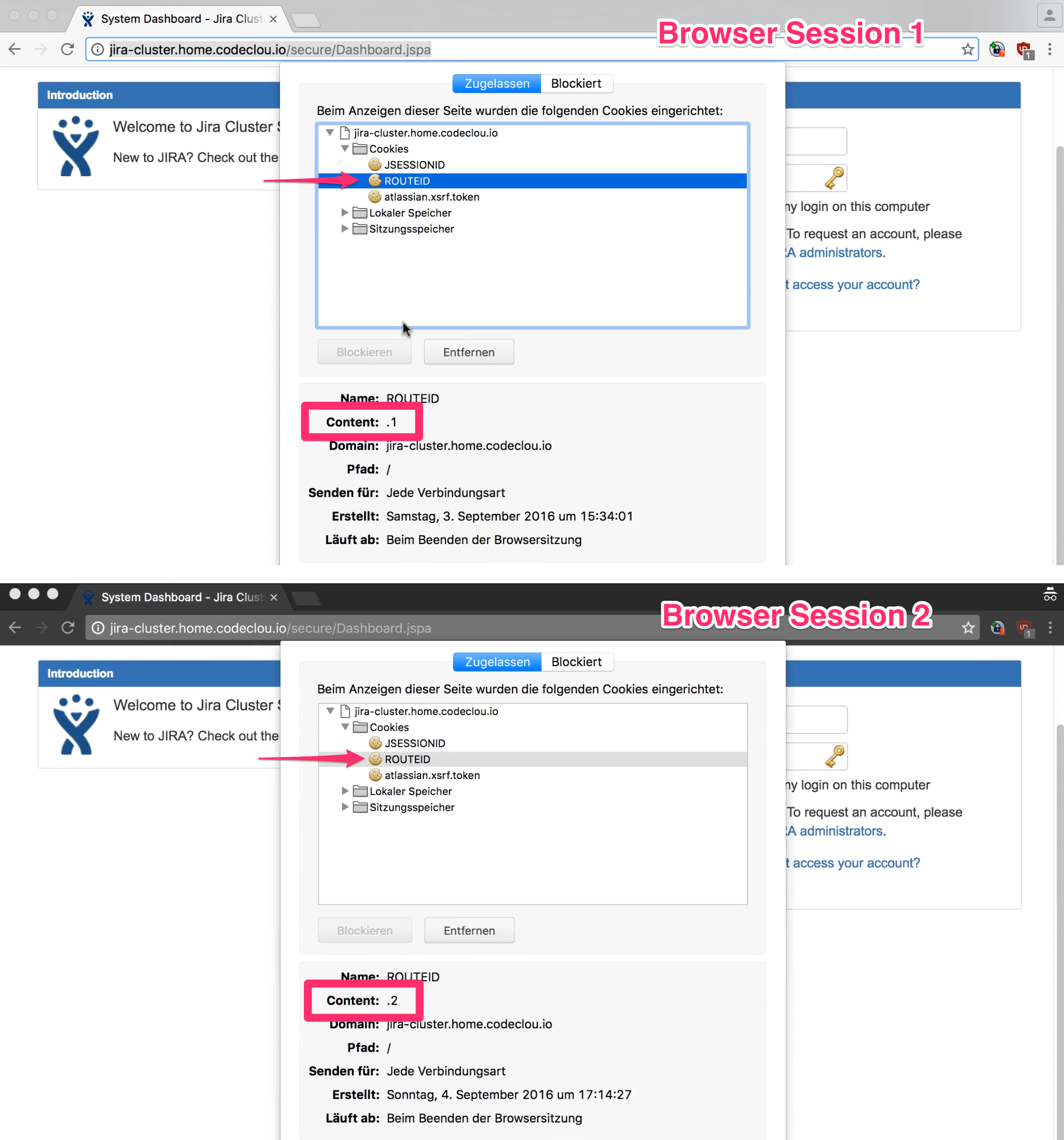 Sticky Session Cookie binding Sessions to JIRA Nodes