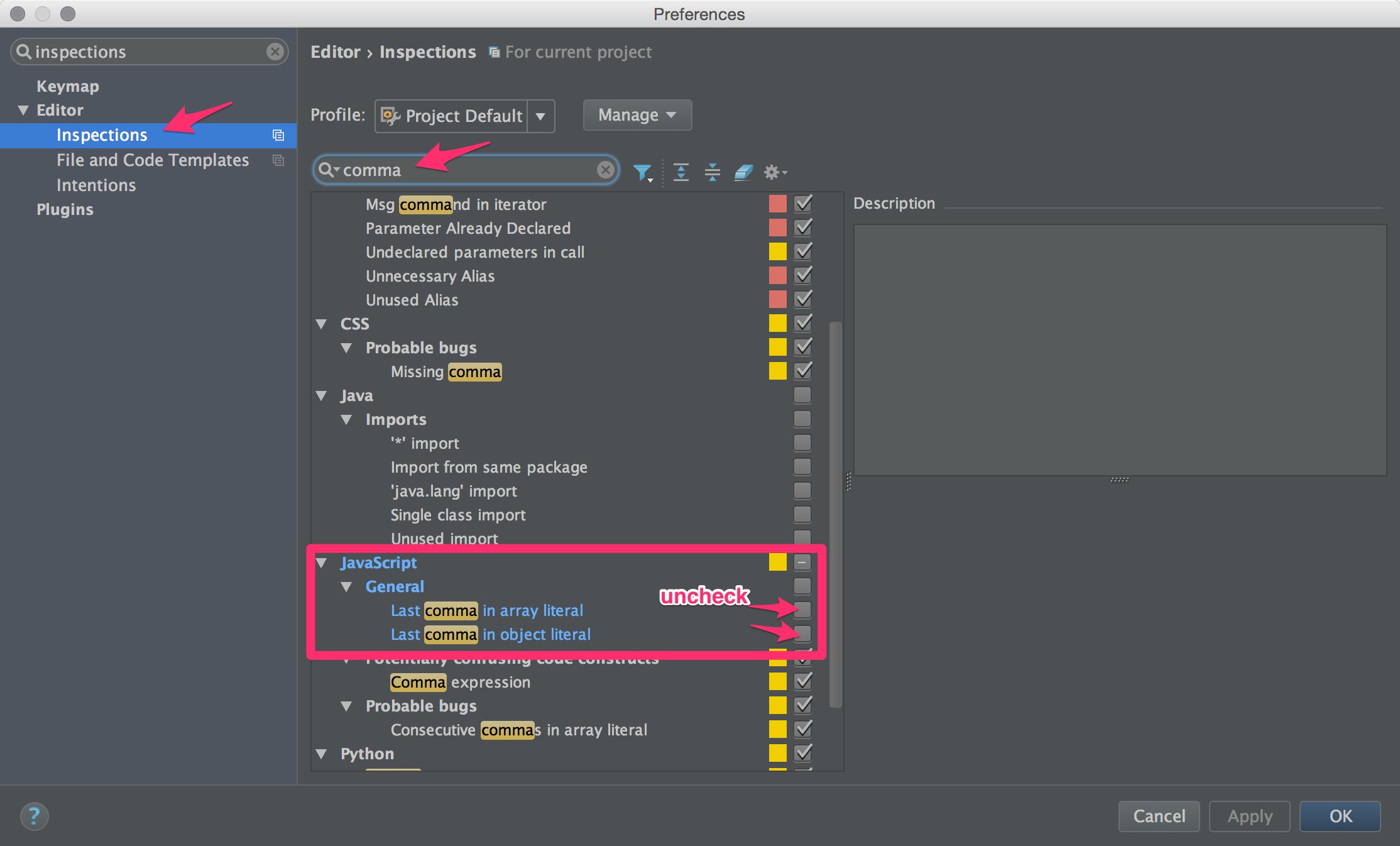IntelliJ IDEA - Disable JavaScript dangling-comma inspection