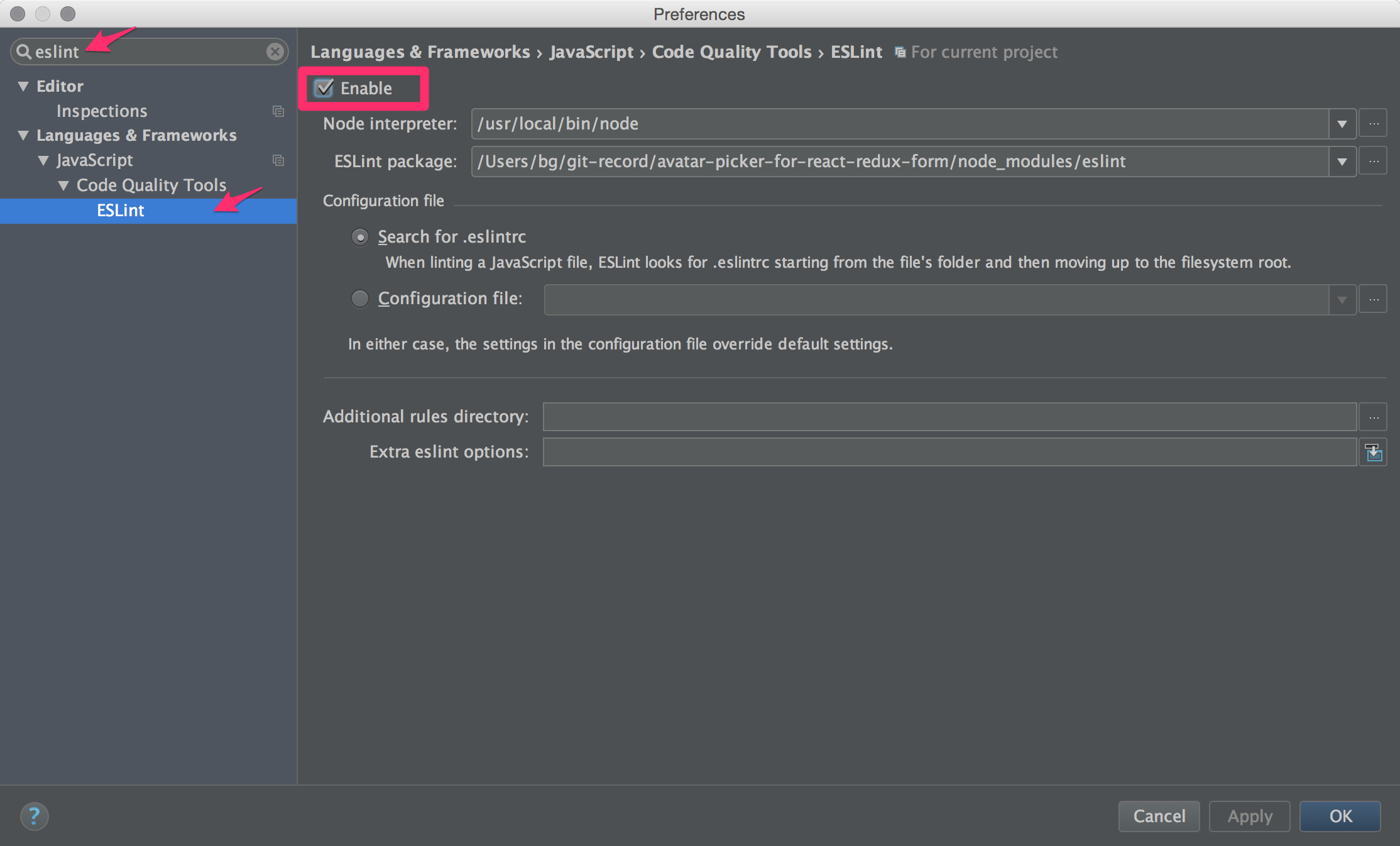 IntelliJ IDEA - Enable ESLint