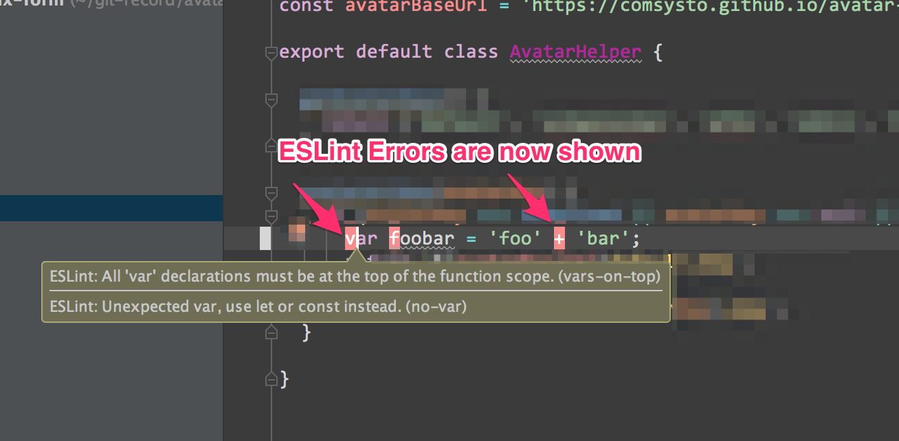 IntelliJ IDEA showing ESLint errors