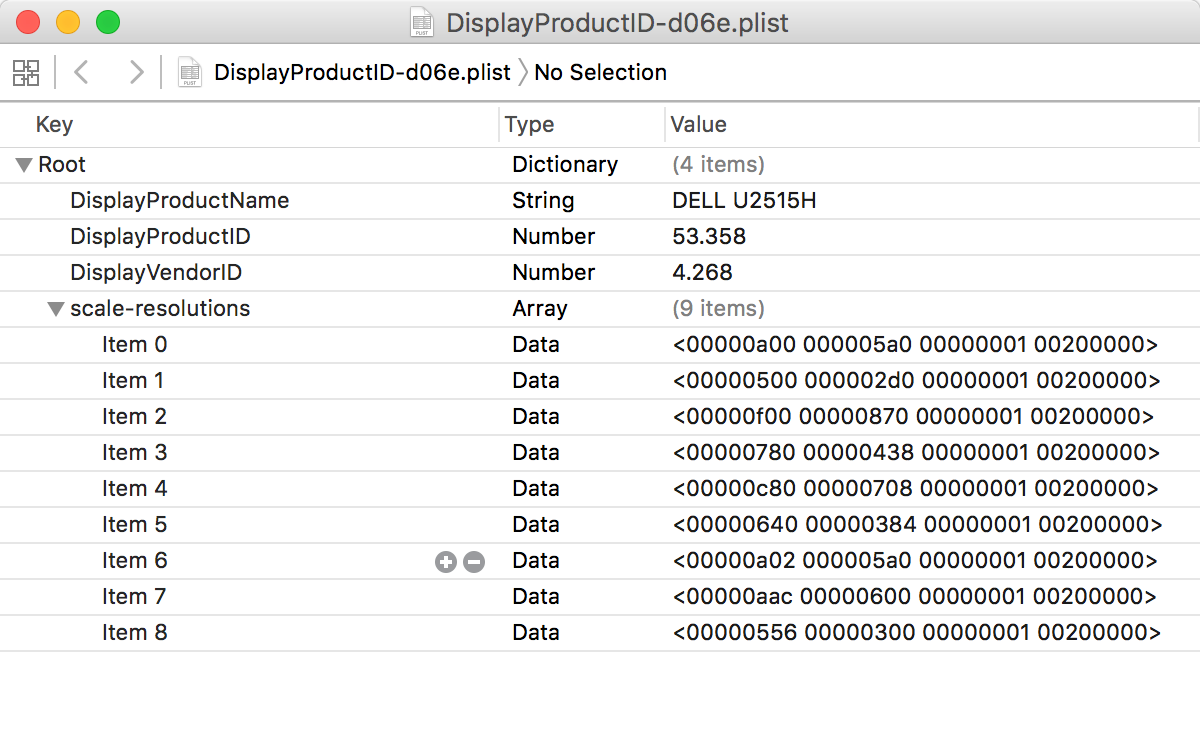 PropertyList viewed with Xcode