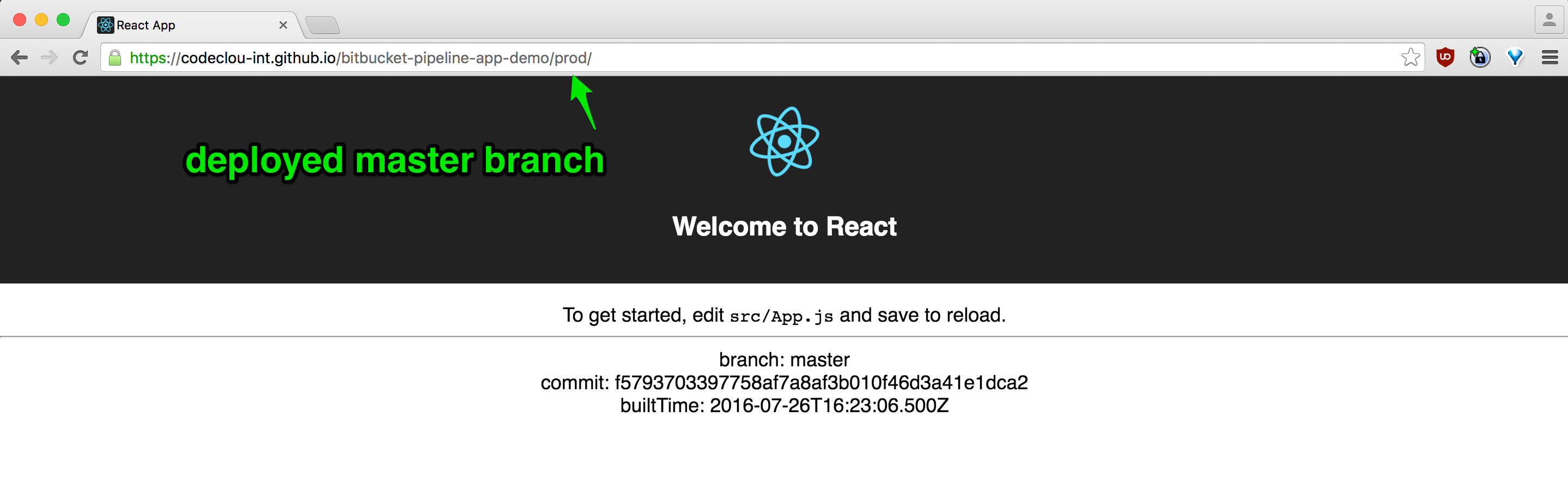 Deployed Master Branch of React App