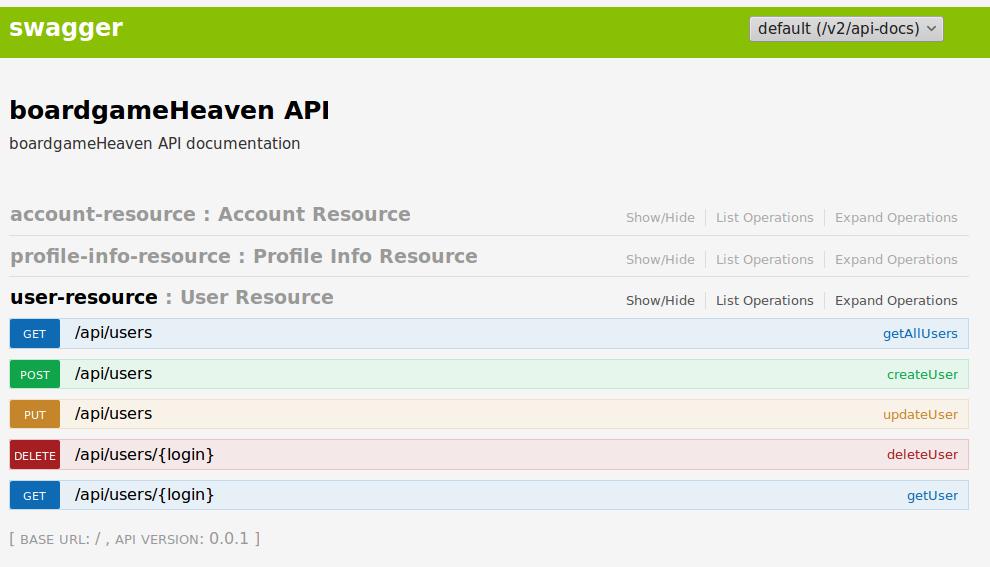 Übersicht über die REST-API der App (bereitgestellt von swagger (http://swagger.io/))