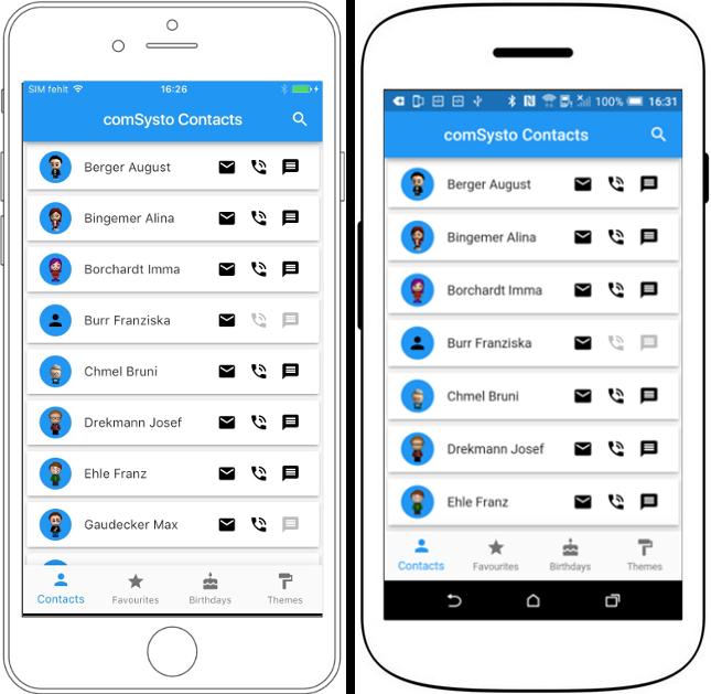 Startbildschirm in auf dem IPhone und einem Android