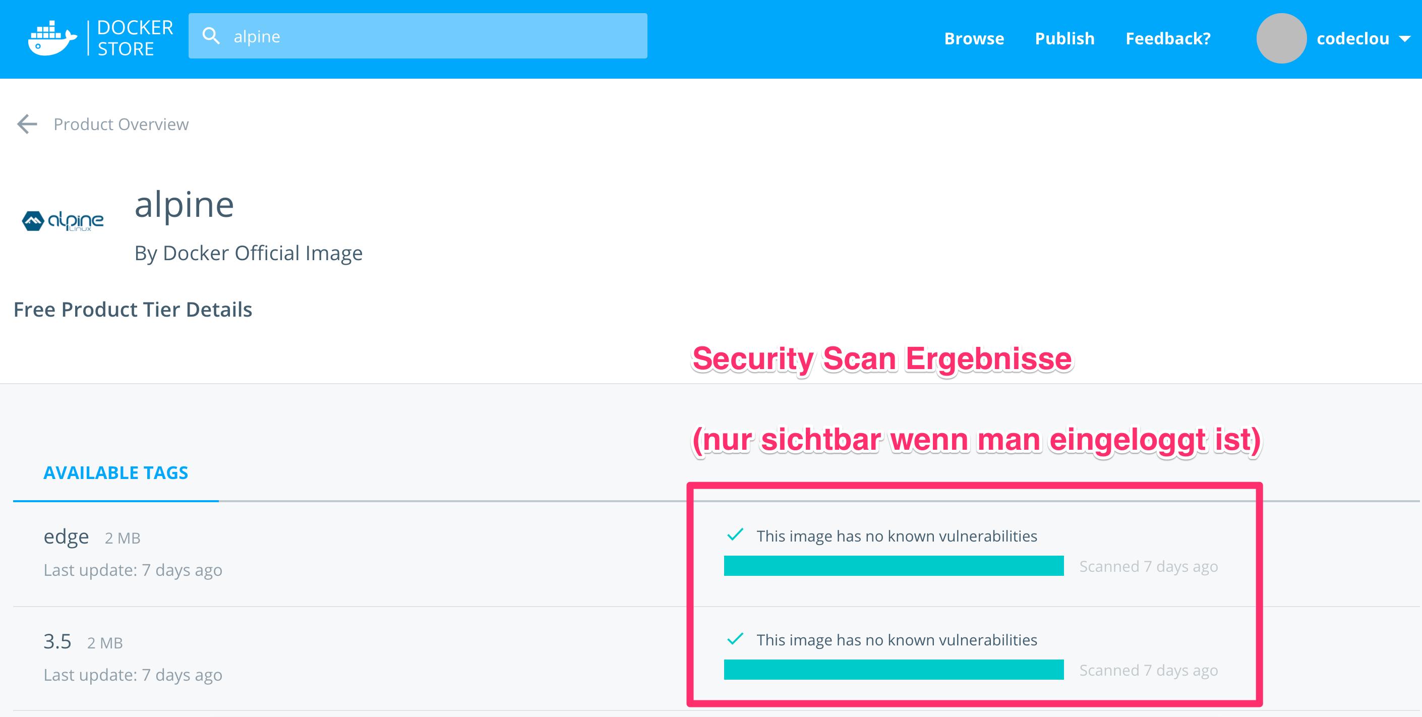 Docker Security Scanning Ergebnis für Alpine Linux