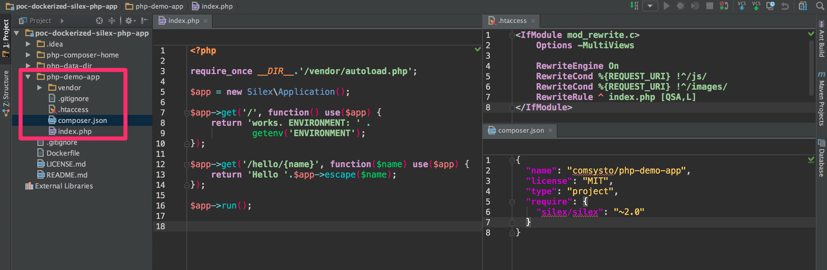Dateien der PHP Demo Applikation