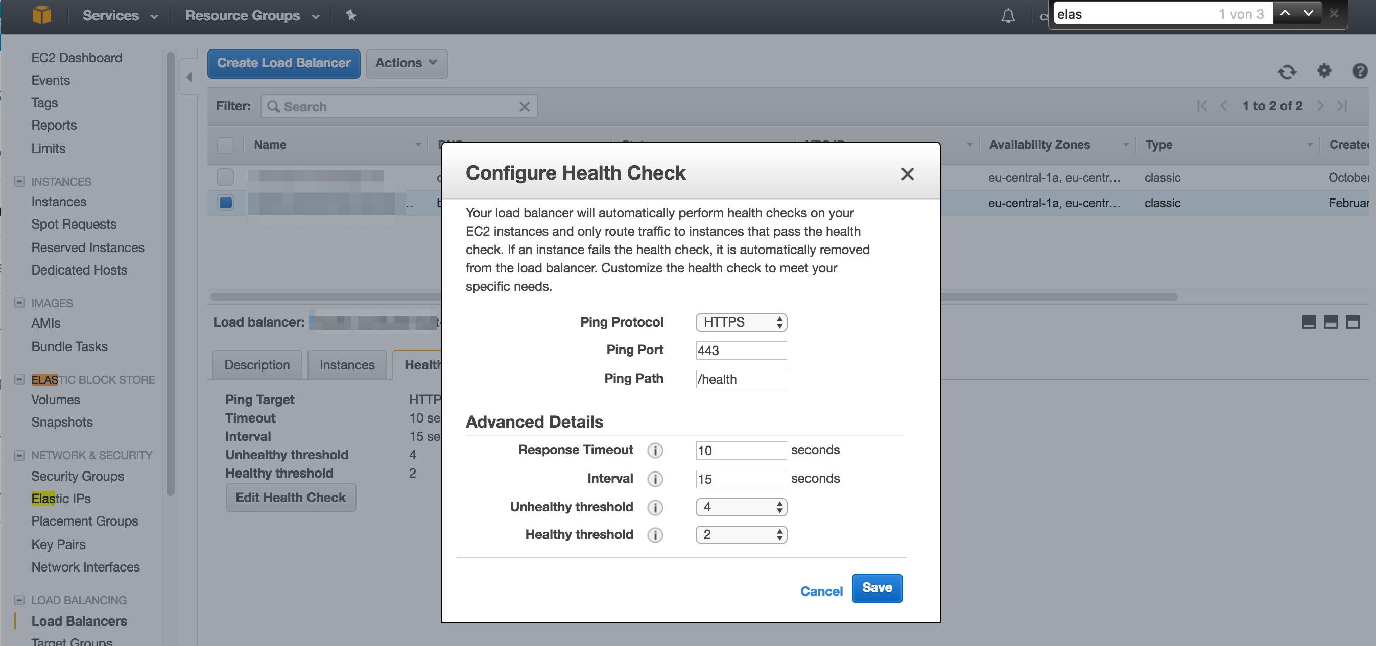 Health Check anpassen