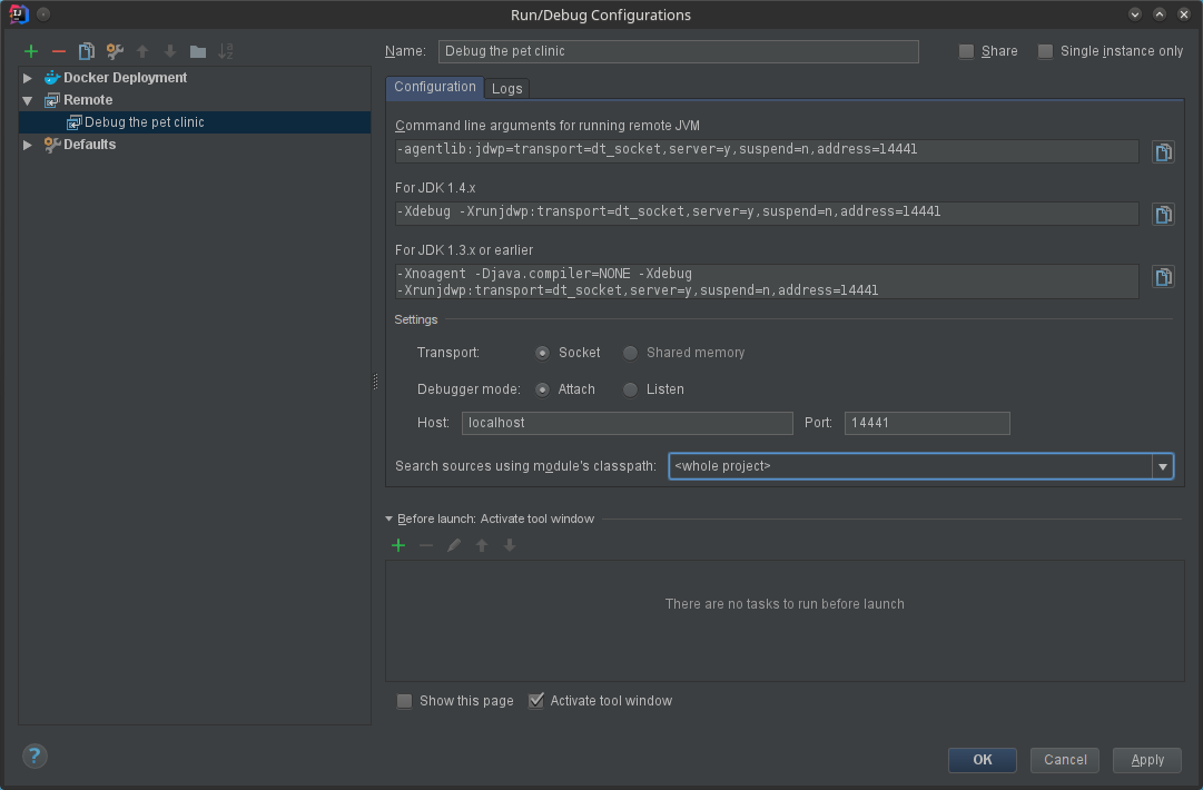 IntelliJ Remote Debugging Konfiguration