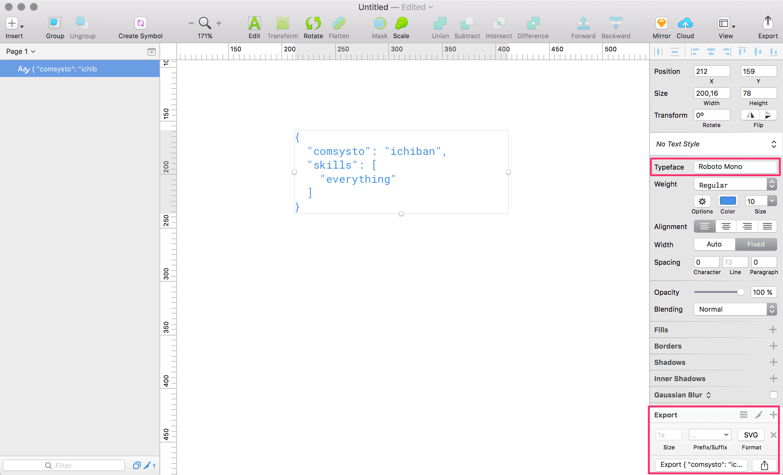 JSON mit Monospaced Font in Sketch