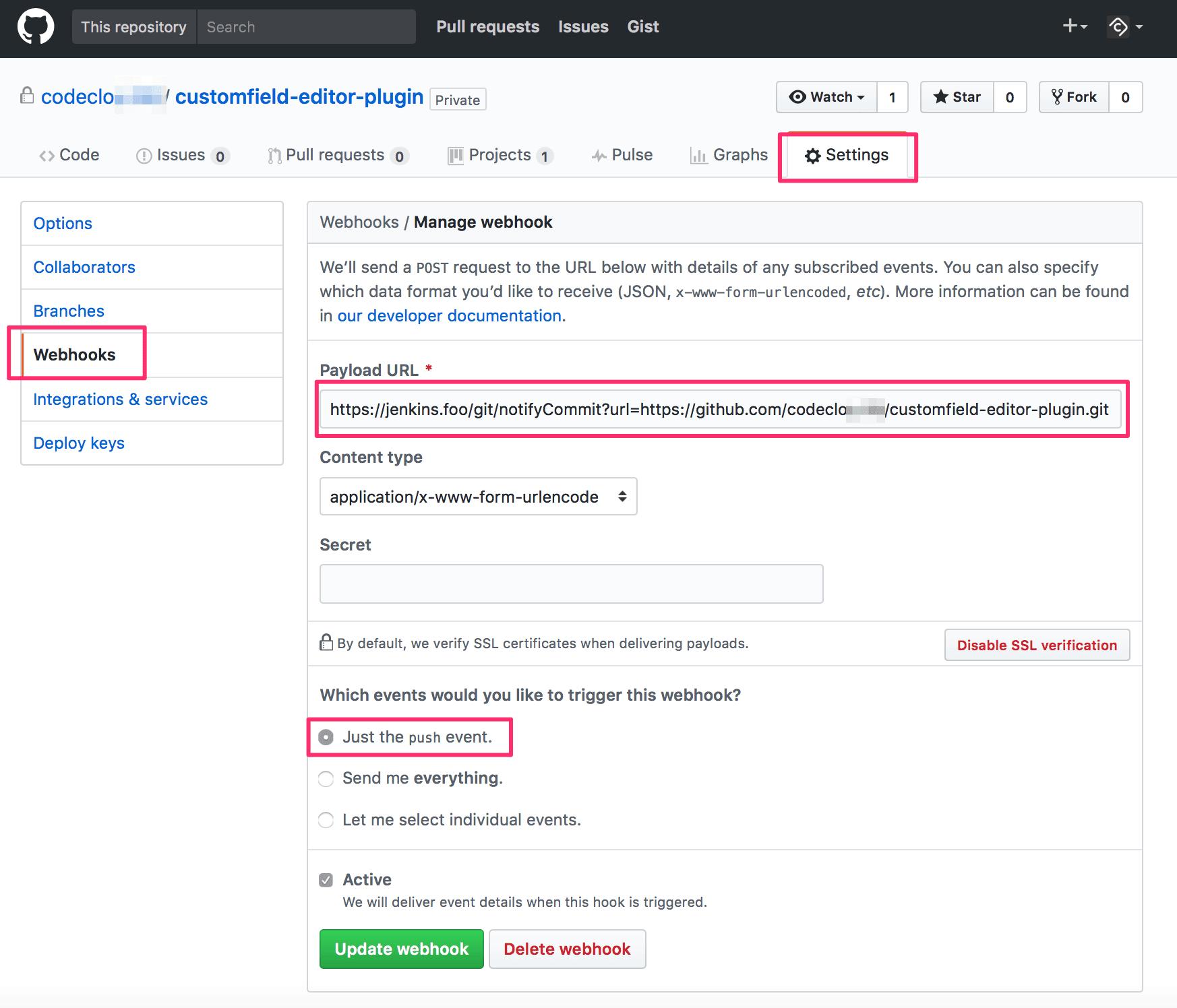 GitHub Webhook für Git-Plugin Notify