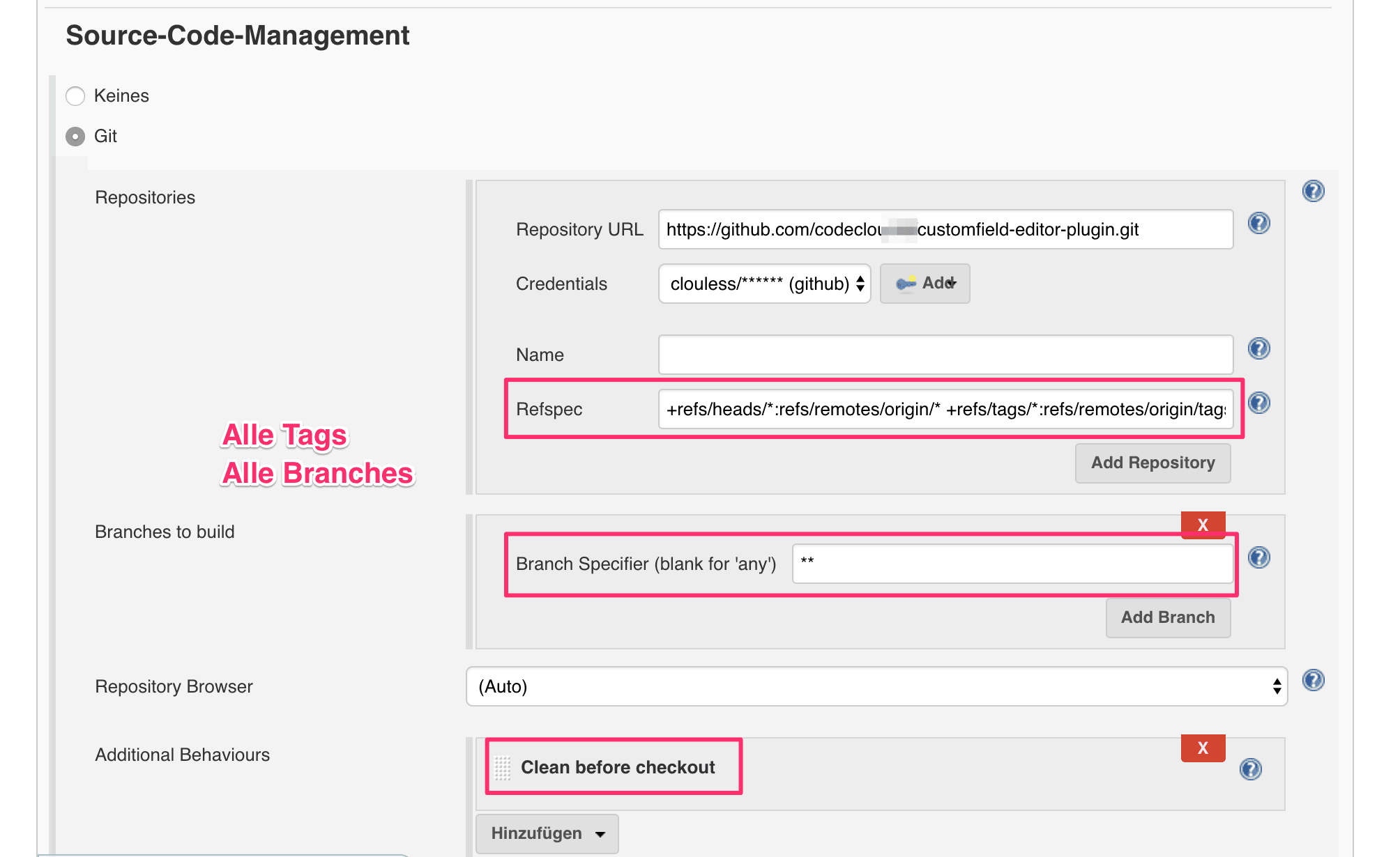 Source Code Management - Alle Branches und alle Tags