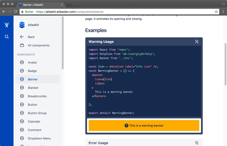 AtlasKit Banner Komponente