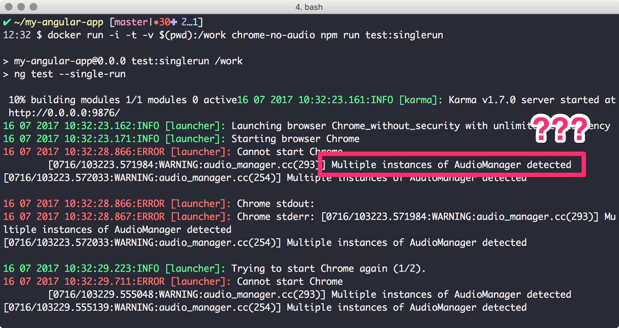 Multiple instances of AudioManager detected - Fehler