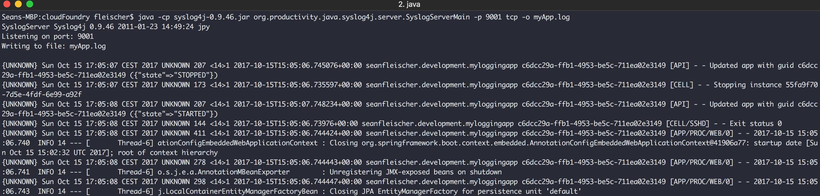 Auszug der empfangenen Logausgaben aus der Syslog-Serverkonsole