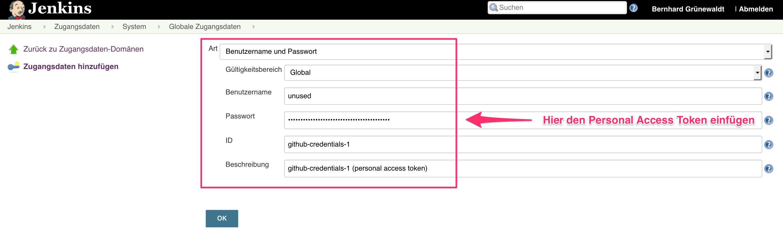 Zugangsdaten mit Personal Access Token anlegen