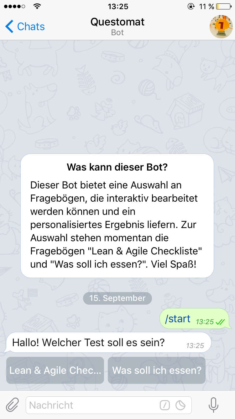 Telegram questomat bot - choose questionnaire